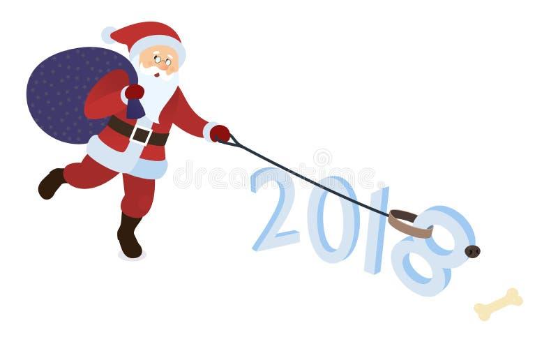 Santa Claus che gioca con il cane Santa con il cane pawing Santa dà un osso al suo animale domestico Cane come simbolo del nuovo  illustrazione di stock
