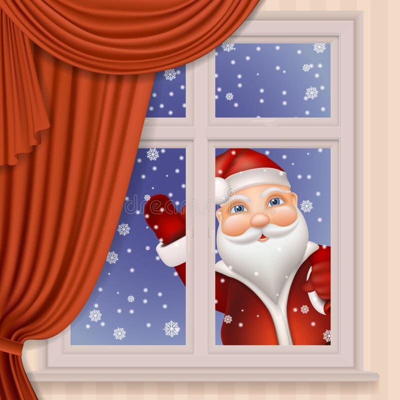Santa Claus che guarda attraverso la finestra illustrazione vettoriale