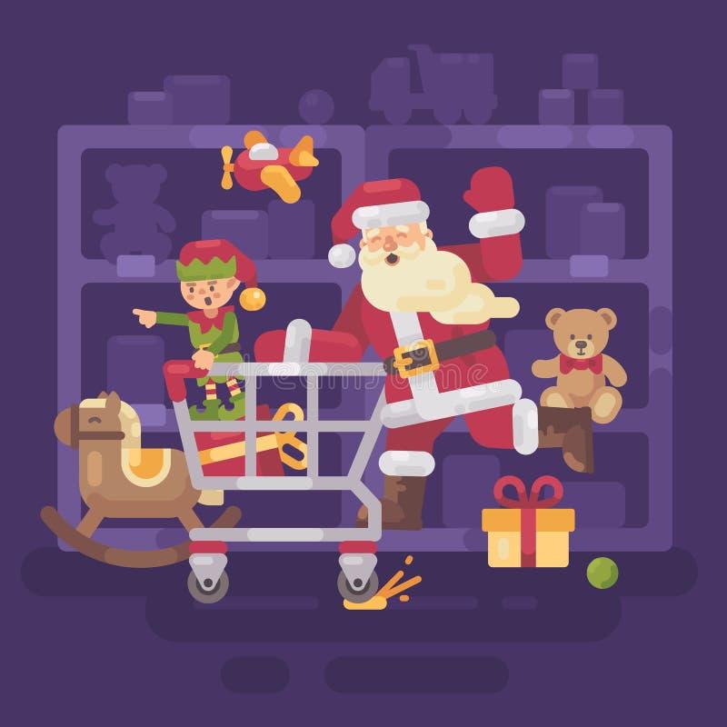 Santa Claus che guida un carrello con il suo elfo in un supermercato illustrazione vettoriale
