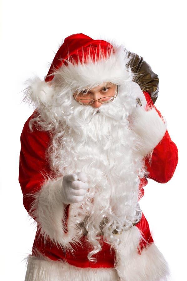 Santa Claus che indica la macchina fotografica isolata fotografie stock libere da diritti