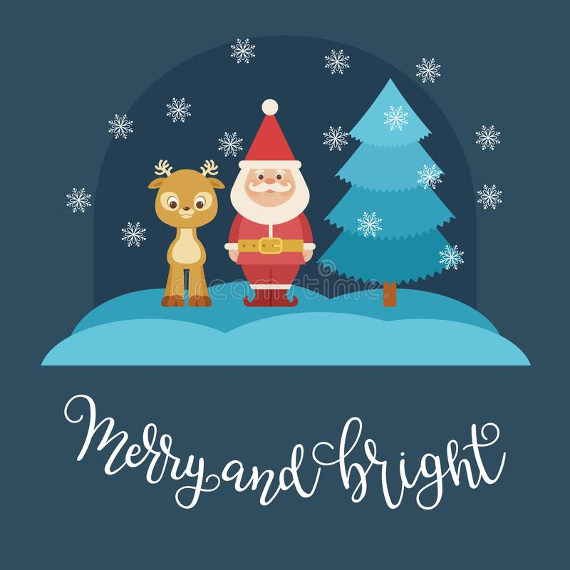 Santa Claus che resta esterno con un cervo vicino all'albero di Natale illustrazione di stock