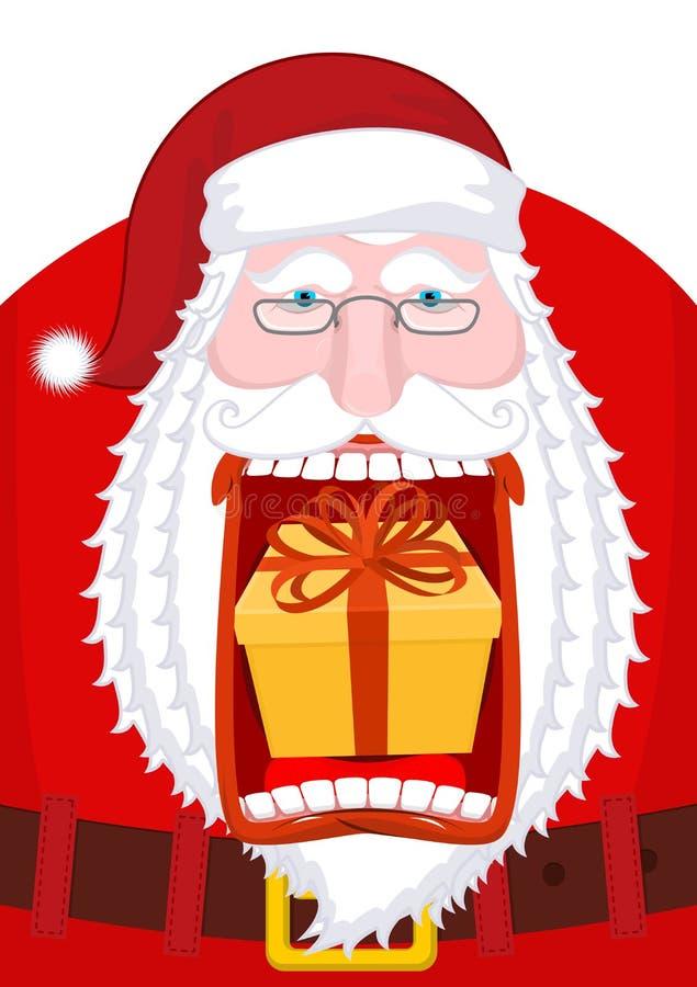 Santa Claus che rutta regalo Rutto aperto della scatola della bocca Natale pazzo g illustrazione vettoriale