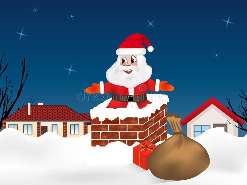 Santa Claus che salta nel camino e licenziare in pieno dei regali Città di notte di inverno Cartolina di Natale Vettore royalty illustrazione gratis