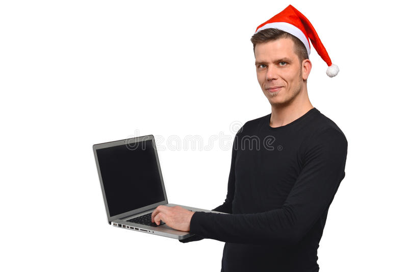 Santa Claus che scrive sul taccuino immagine stock