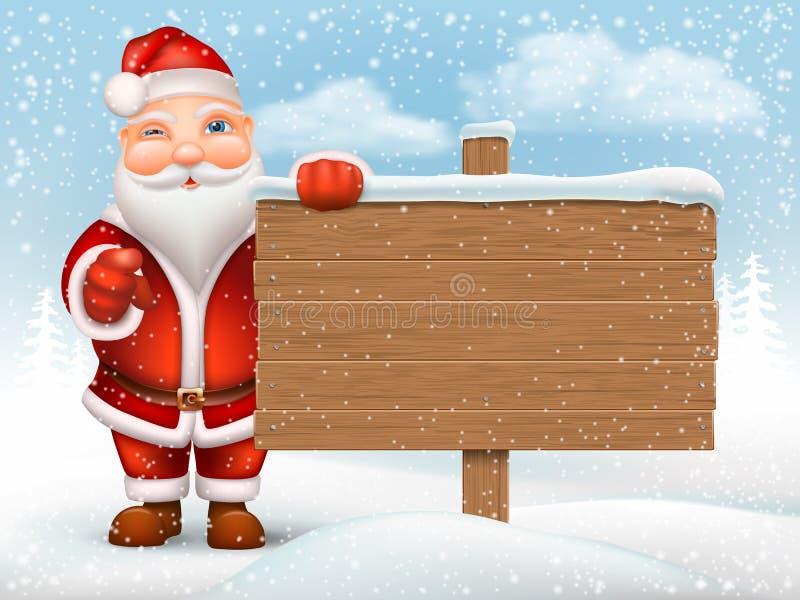 Santa Claus che tiene segno di legno illustrazione vettoriale