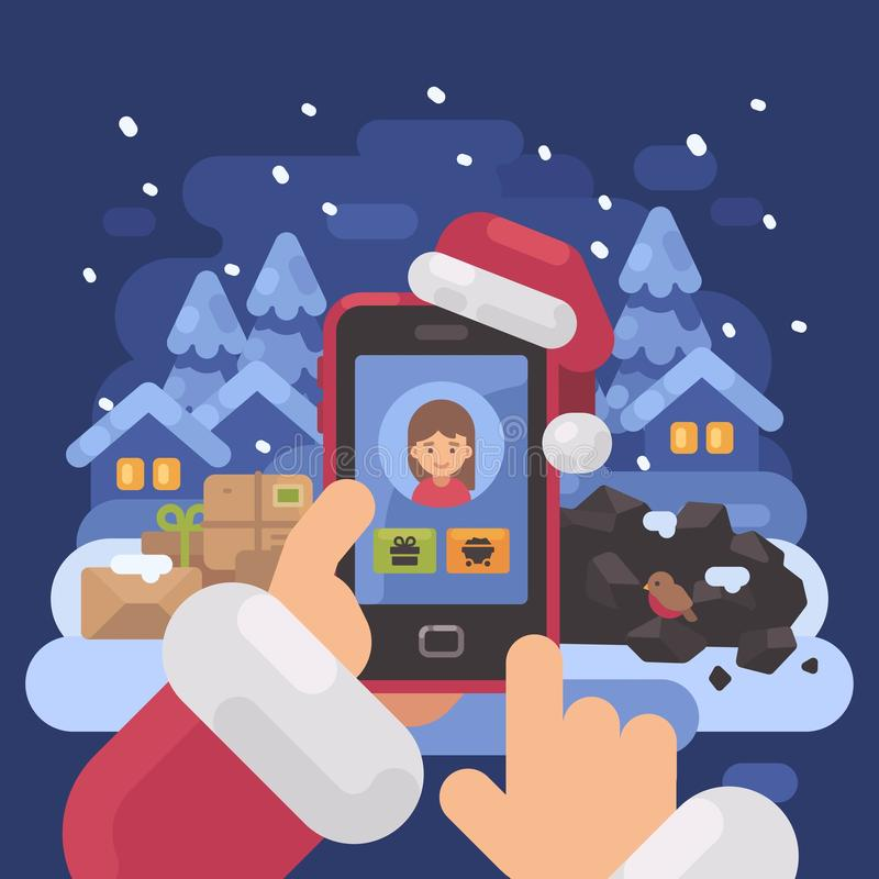 Santa Claus checking children profiles online vector illustration