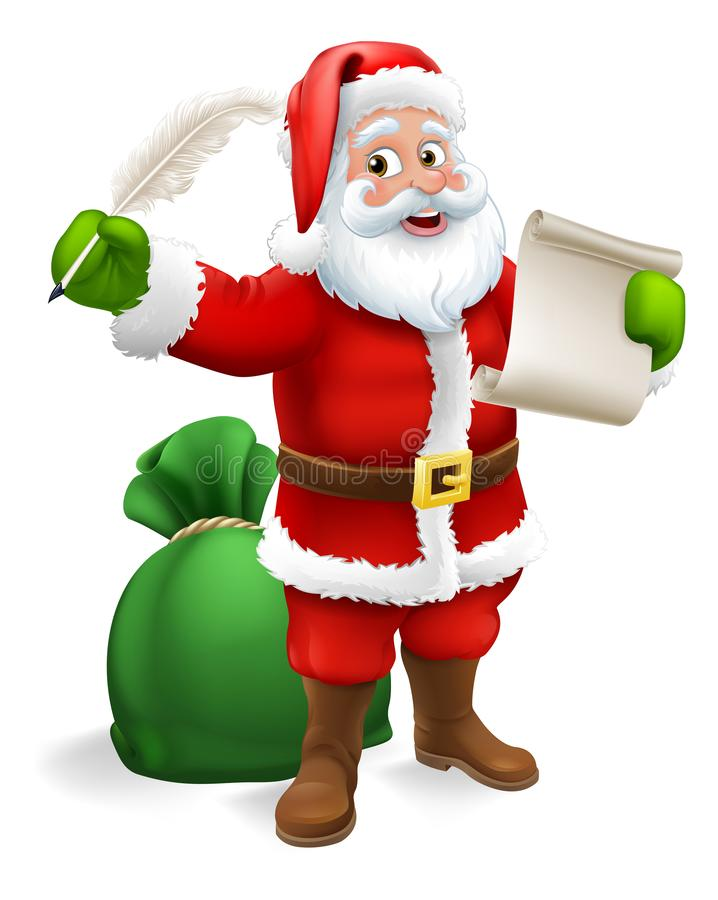 Santa Claus Checking Christmas Gift List Cartoon royalty free illustration