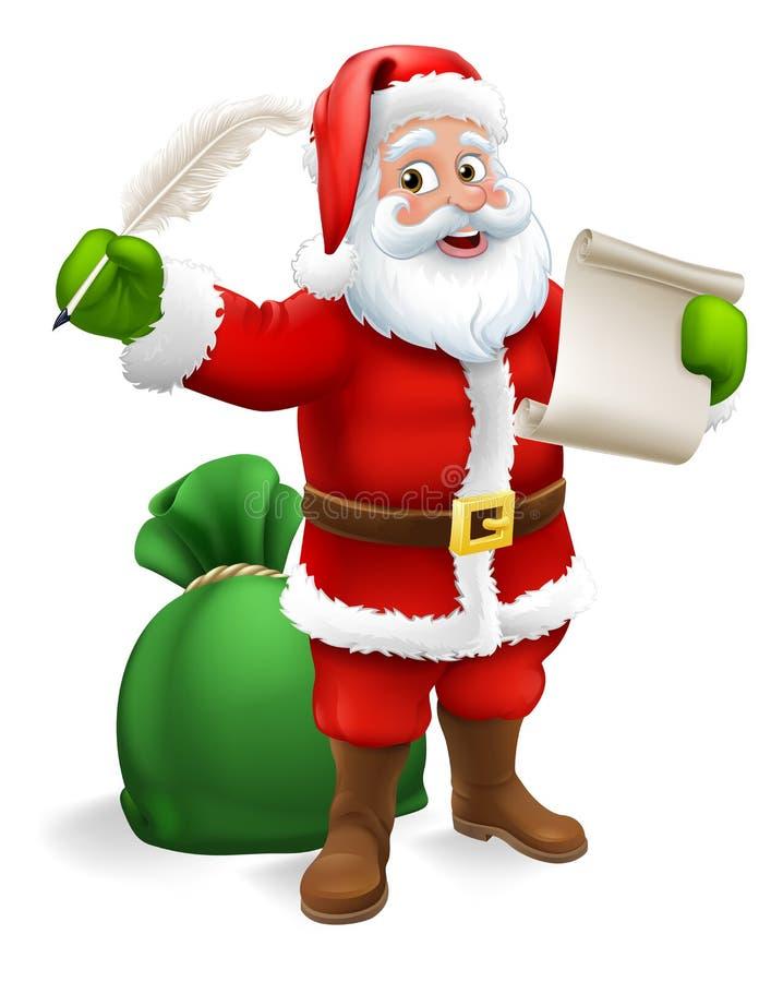 Santa Claus Checking Christmas Gift List tecknad film royaltyfri illustrationer