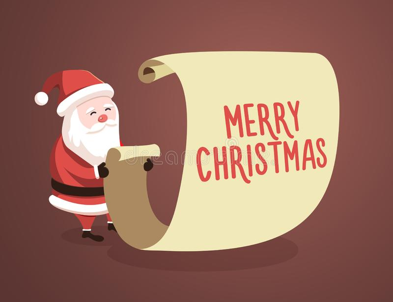 Santa Claus checking list with the Merry Christmas message. Vector illustration stock illustration