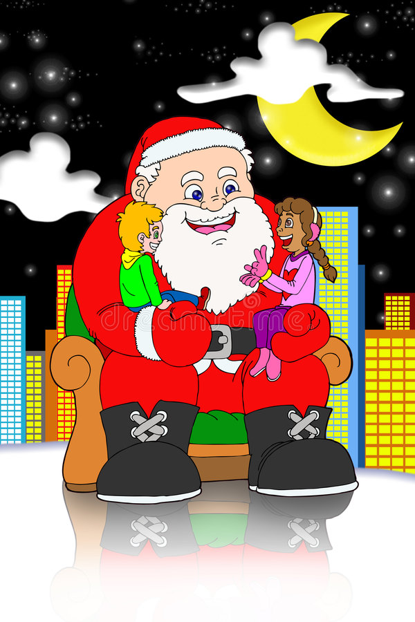Santa claus and childrens on city background stock photography