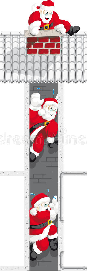 Santa Claus in chimney 3 royalty free stock photo
