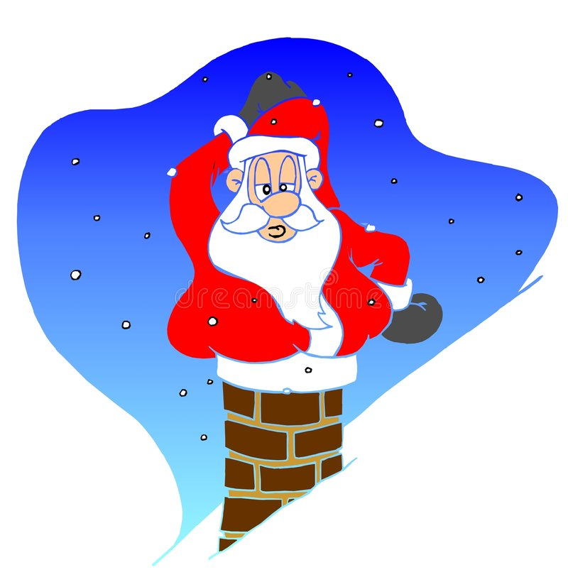 Santa Claus In The Chimney Stock Photo