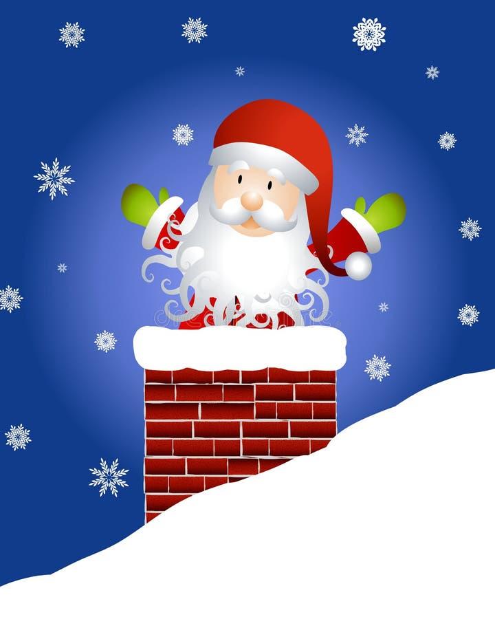 Santa Claus in Chimney. An illustration featuring Santa Claus in a chimney with snowflakes stock illustration