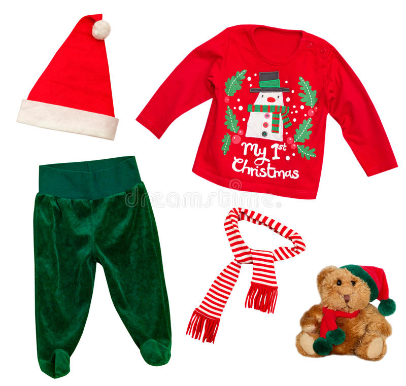 Santa claus christmas baby clothes isolated on white. royalty free stock image