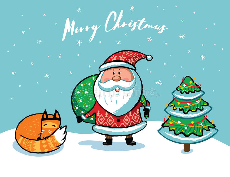 Santa Claus Christmas card vector illustration