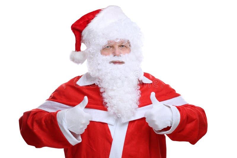 Santa Claus Christmas die omhoog geïsoleerde duimen tonen royalty-vrije stock afbeelding