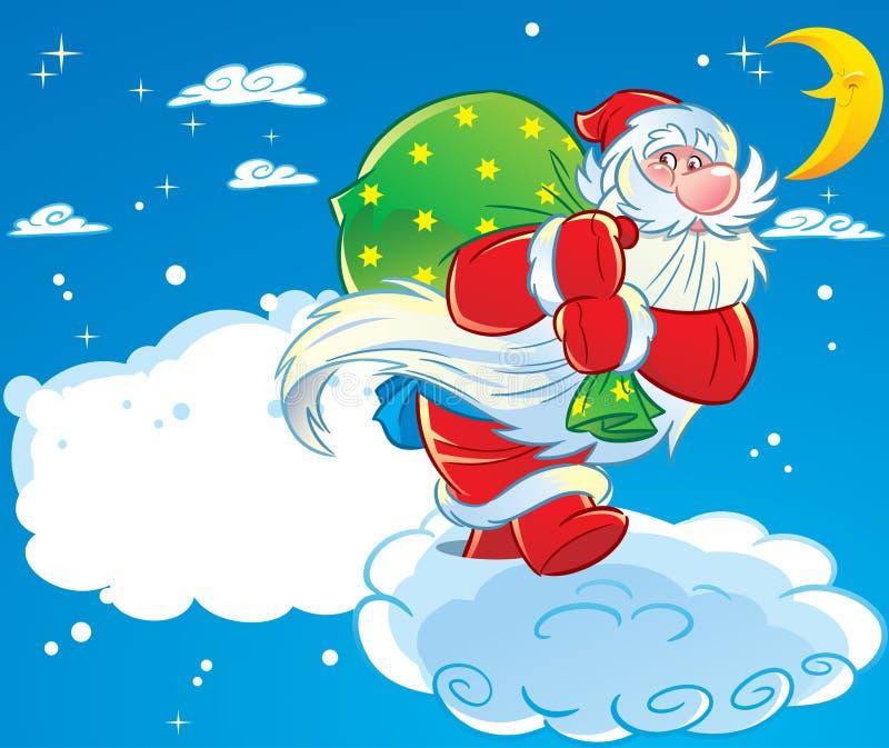 Santa Claus on Christmas Eve royalty free illustration
