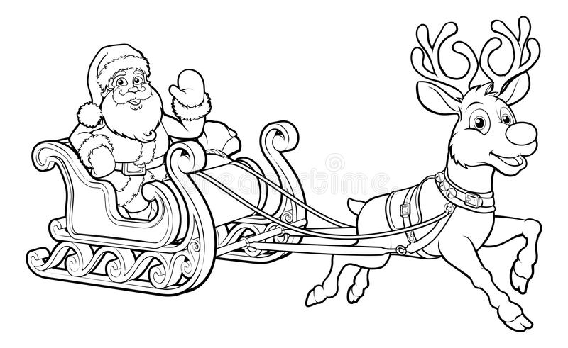 Santa Claus Christmas Fling Sleigh Sled Reindee stock illustratie