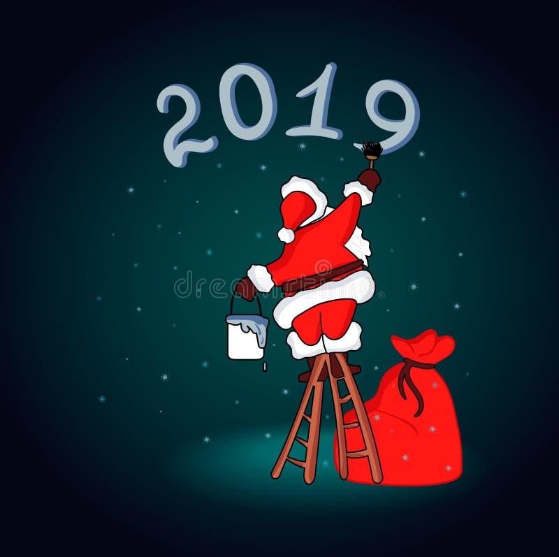 Santa Claus. Christmas Greeting Card with Christmas Santa Claus. Vector illustration. royalty free illustration