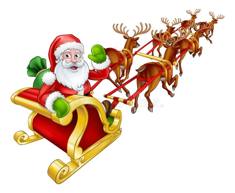 Santa Claus Christmas Reindeer e slitta Sleigh illustrazione vettoriale