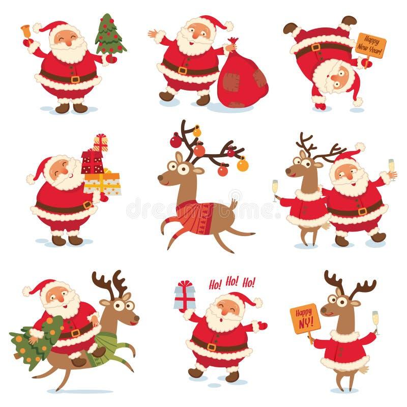 Santa Claus and Christmas reindeer vector illustration
