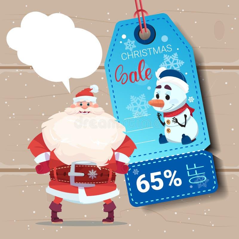 Santa Claus With Christmas Sale Tag en fondo de madera de la textura stock de ilustración