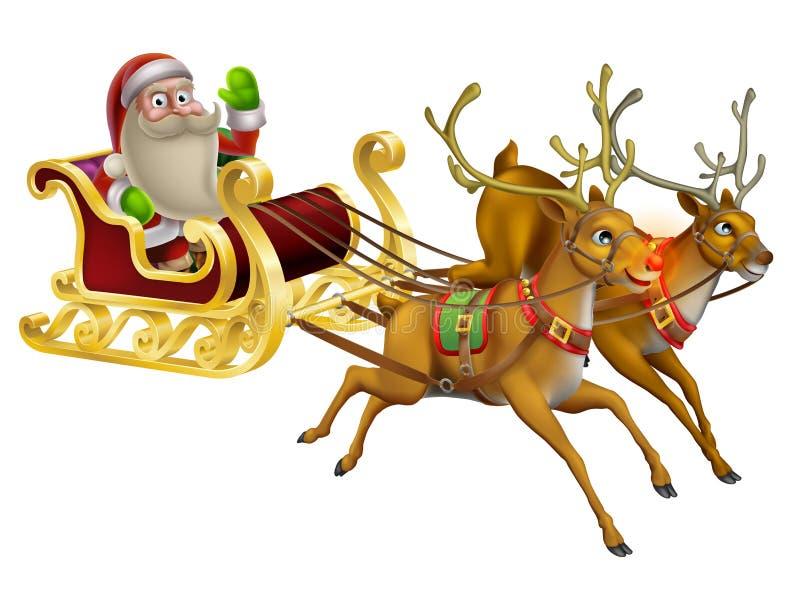 Santa Claus Christmas Sleigh vector illustratie
