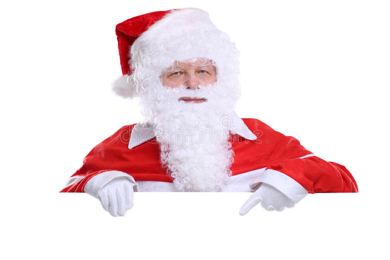 Santa Claus Christmas som visar det tomma banret med copyspace arkivfoto