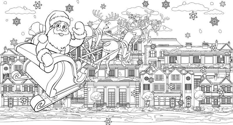 Santa Christmas Sleigh Moon Stock Vector - Illustration of ...