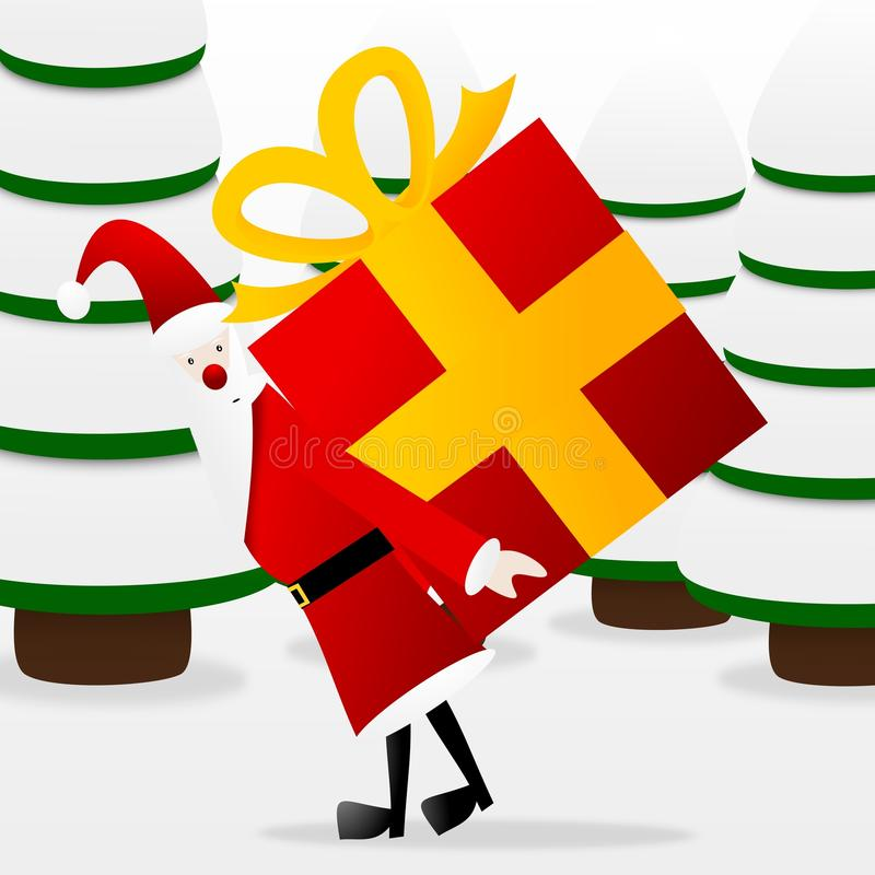 Santa claus. At christmas time with a gift vector illustration