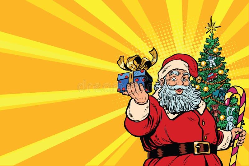 Santa Claus Christmas träd och gåva, lämnat kopieringsutrymme royaltyfri illustrationer