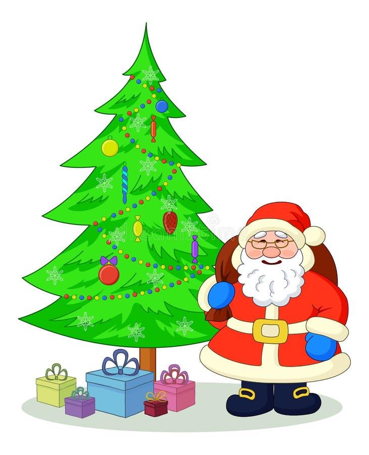 Santa Claus and Christmas tree vector illustration