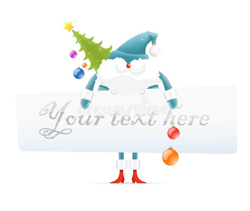 Santa Claus, Christmas tree, blank board for text stock illustration