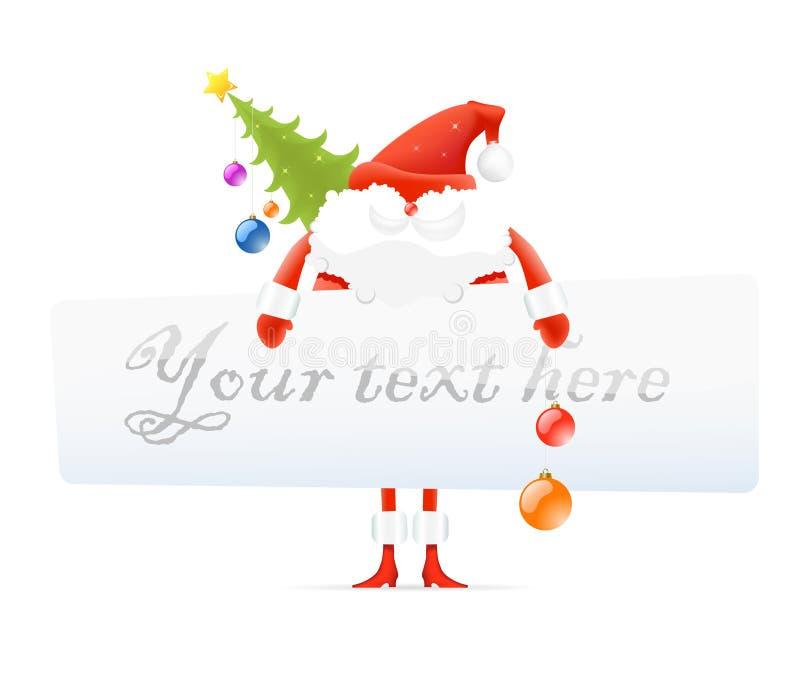Santa Claus, Christmas tree, blank board for text royalty free illustration