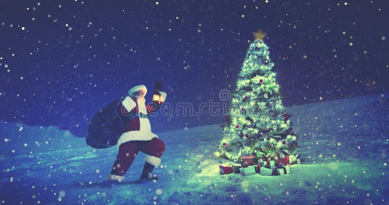 Santa Claus Christmas Tree Concept fotografia stock libera da diritti