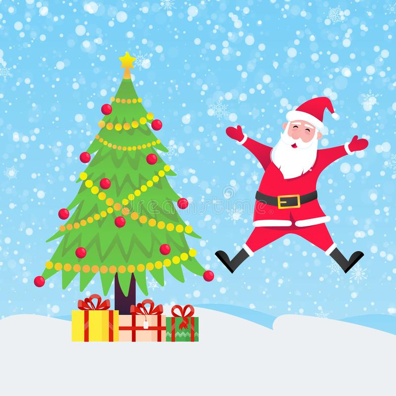 Santa Claus with christmas tree fir and present gifts jumping with falling snow. Flat style design vector illustration. Merry christmas and happy new year stock illustration