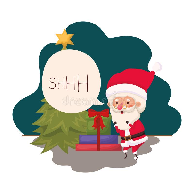 Santa Claus With Christmas Tree And-Giften vector illustratie