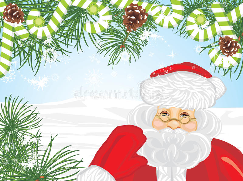 Santa Claus and Christmas tree. Greeting card stock images