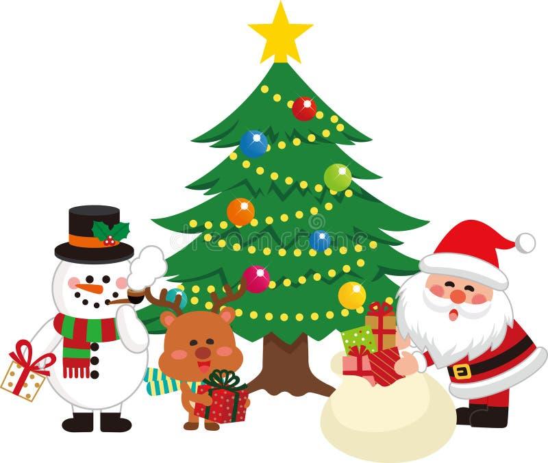 Santa Claus and Christmas Tree Set 1. Santa Claus giving a gift from a bag. Vector illustration.Flat design.Cartoon charactor vector illustration