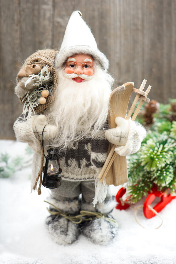 Download Santa Claus With Christmas Tree In Snow Stock Image - Image of holidays, year: 34500357