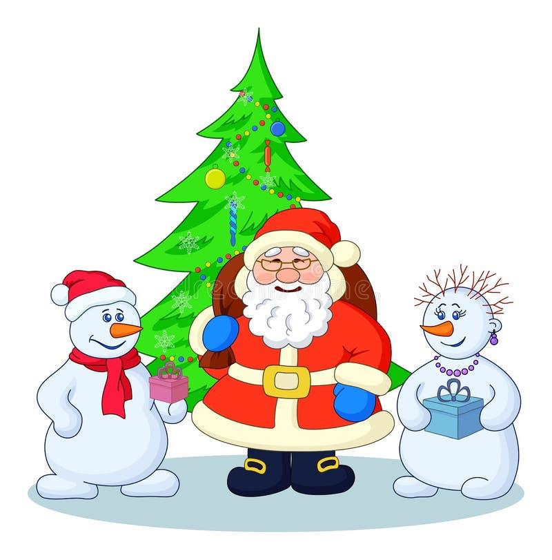 Santa Claus, Christmas tree and snowmans stock illustration