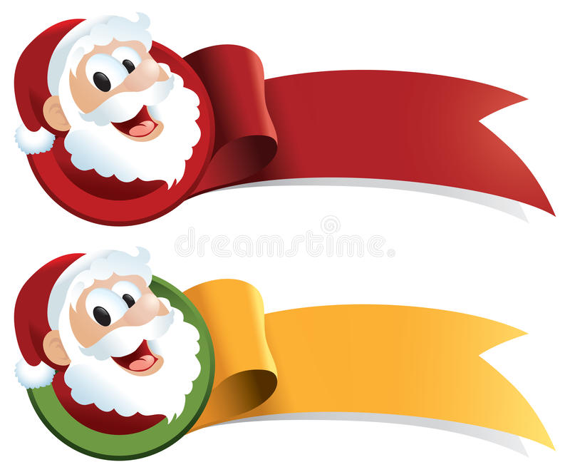 Santa Claus Christmas Web Ribbon vector illustration