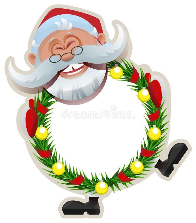 Santa Claus Christmas wreath of fir branches stock illustration