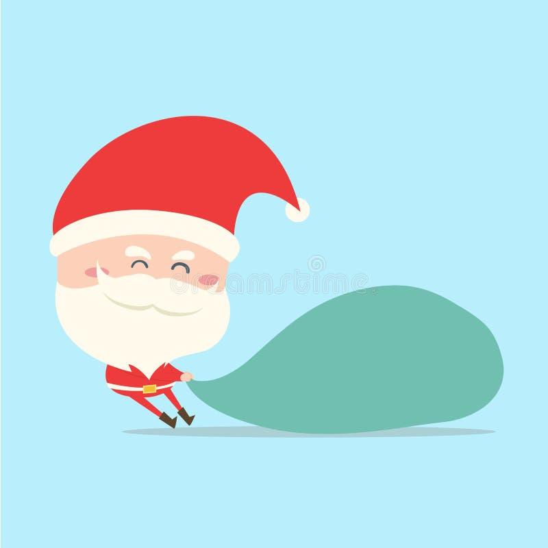 Santa Claus ciągnienia torba prezent, teraźniejszość ilustracji