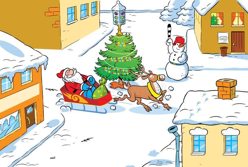 Santa Claus in city vector illustration
