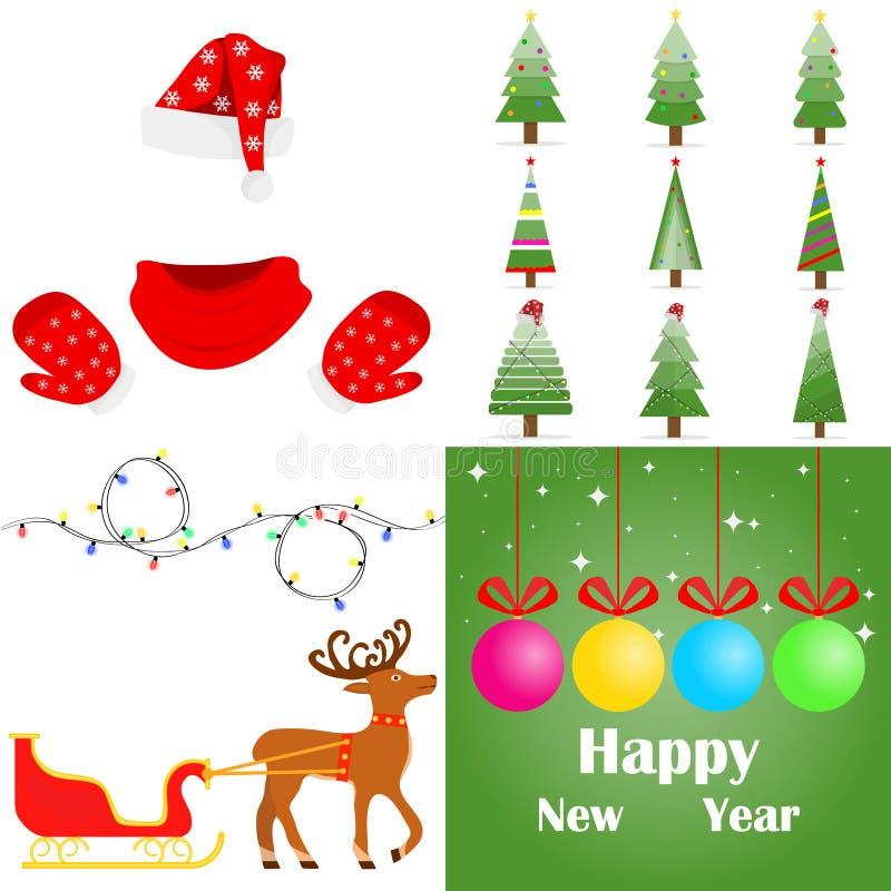 Santa Claus clothes, Christmas tree, Christmas garland, sled with Santa Claus deer. New Year`s set. royalty free illustration