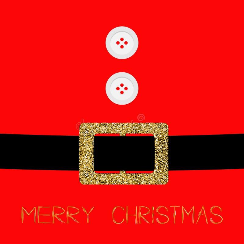 Santa Claus Coat com pele, botões e correia do brilho do ouro Projeto liso do cartão do fundo do Feliz Natal ilustração do vetor