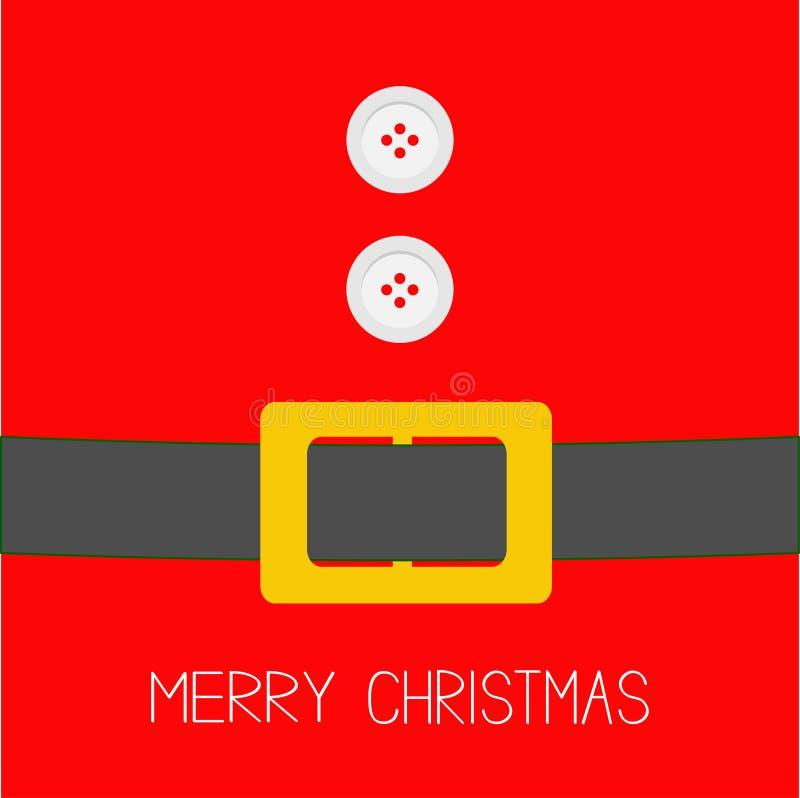 Santa Claus Coat con la piel, los botones y la correa Diseño plano de la tarjeta del fondo de la Feliz Navidad ilustración del vector