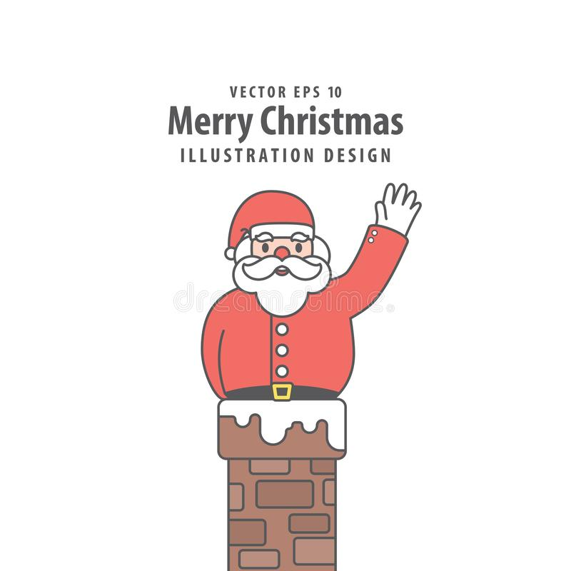Santa Claus cogió en el vector del ejemplo de la chimenea en b blanco ilustración del vector