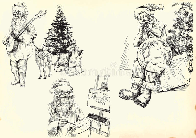 Santa Claus - Collection 1. Vector hand drawn illustration. Collection of drawings (each on a separate layer) on vintage paper in yellow color (the paper is royalty free illustration